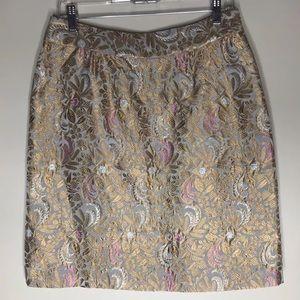 Anthropologie Elevenses metallic skirt. Size 8